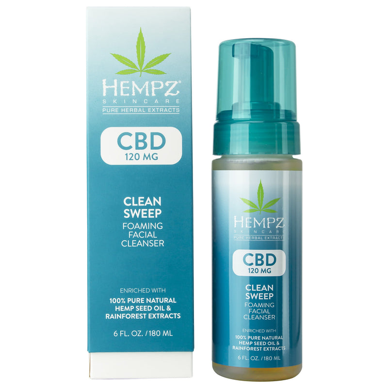 Hempz CBD Clean Sweep Foaming Facial Cleanser, Box & Product