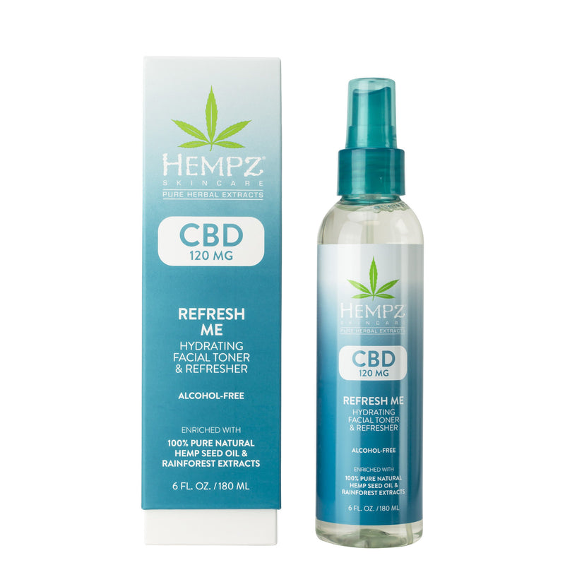 Hempz CBD Refresh Me Hydrating Facial Toner and Refresher, Box & Product