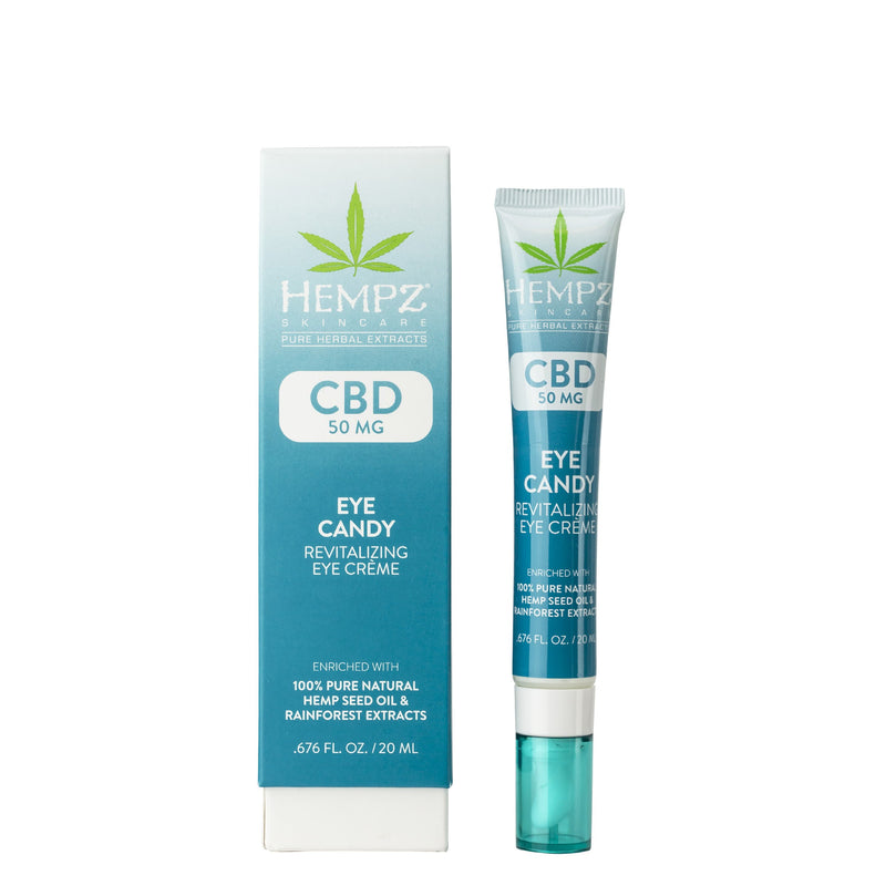 Hempz CBD Eye Candy Revitalizing Eye Crème, Back & Product