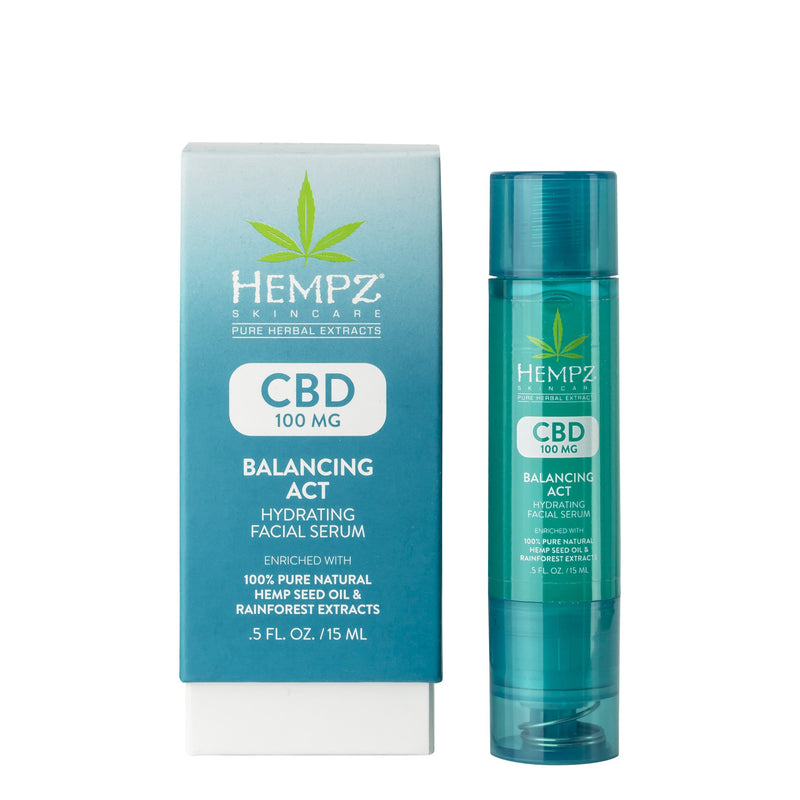 CBD Balancing Act Hydrating Facial Serum, Box & Serum