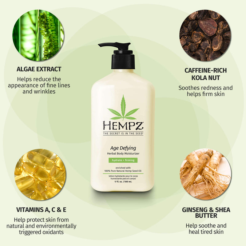 Hempz Age Defying Herbal Body Moisturizing Lotion for Dry Skin and Wrinkles