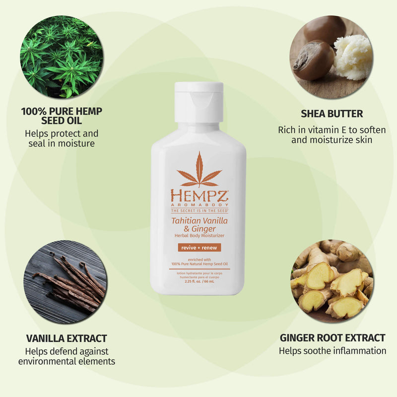 Hempz AromaBody Tahitian Vanilla & Ginger Herbal Body Moisturizing Lotion for Dry Skin