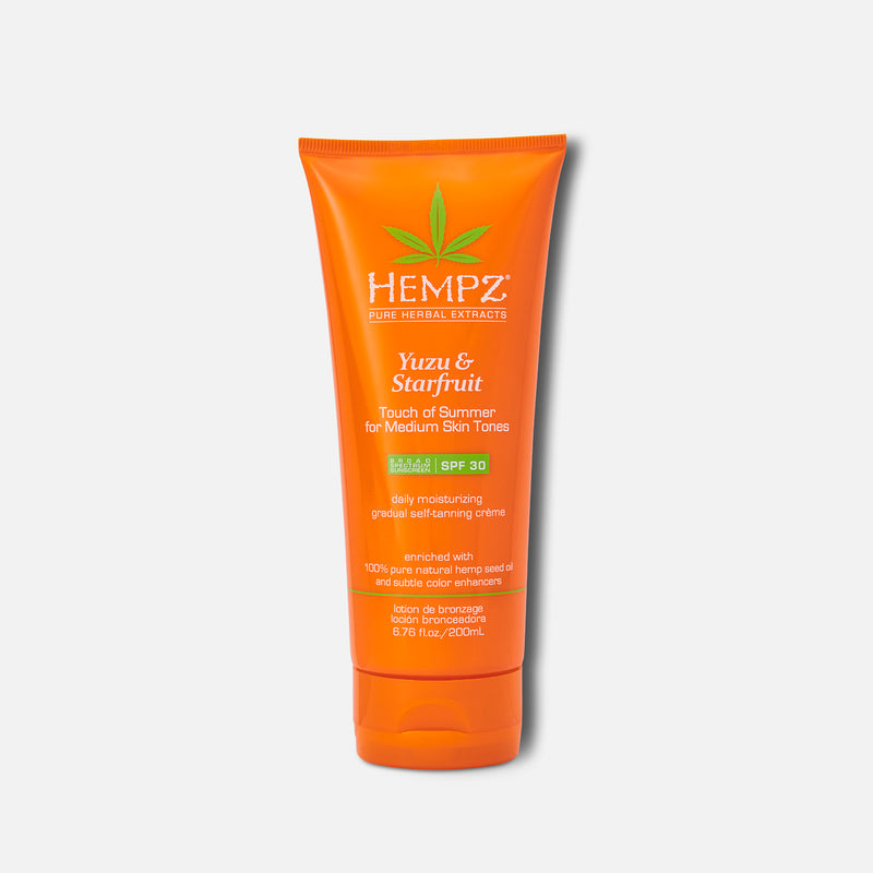 Hempz Daily SPF Yuzu & Starfruit Touch of Summer Moisturizing Gradual Self-Tanning Crème with SPF 30 for Medium Skin Tones 6.76 fl oz