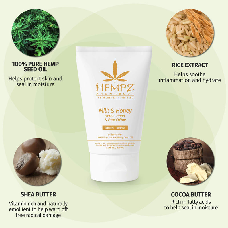 Hempz Milk and Honey Herbal Hand and Foot Cream for Dry Skin