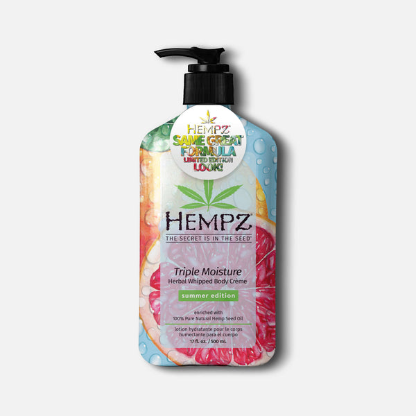 Hempz Summer-Edition Triple Moisture Herbal Whipped Body Creme Moisturizing Lotion for Dry Skin