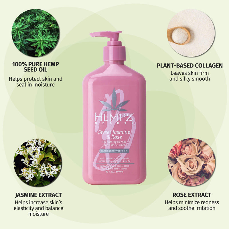 Hempz Sweet Jasmine and Rose Moisturizing Body Lotion with Plant-Based Collagen