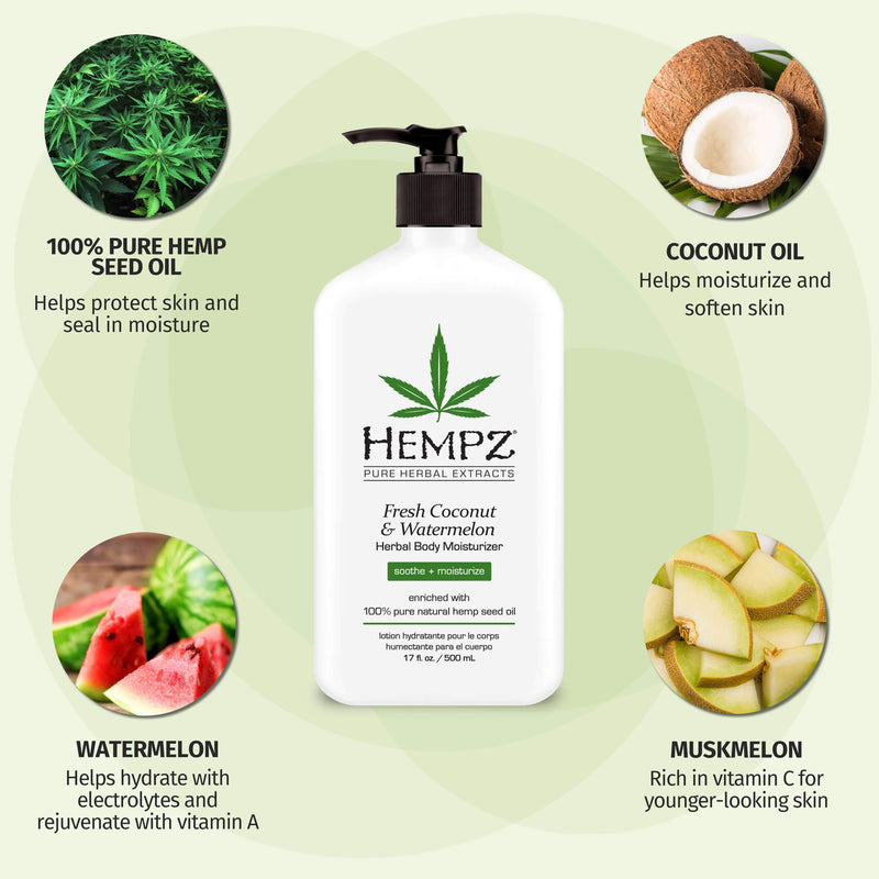 Hempz Fresh Coconut and Watermelon Moisturizing Body Lotion for Dry Skin