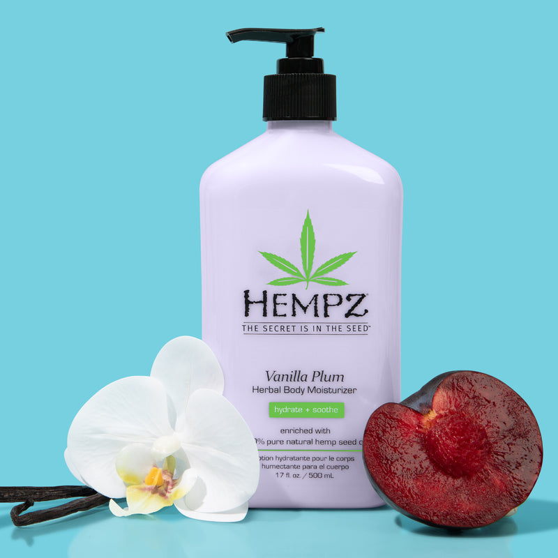 Hempz Vanilla Plum Herbal Body Moisturizing Lotion for Dry Skin