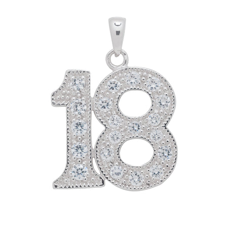 Sterling Silver 18 Birthday CZ Pendant