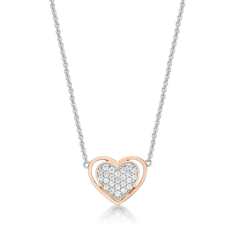 Sterling Silver Rose Gold Plated CZ Heart Necklace.