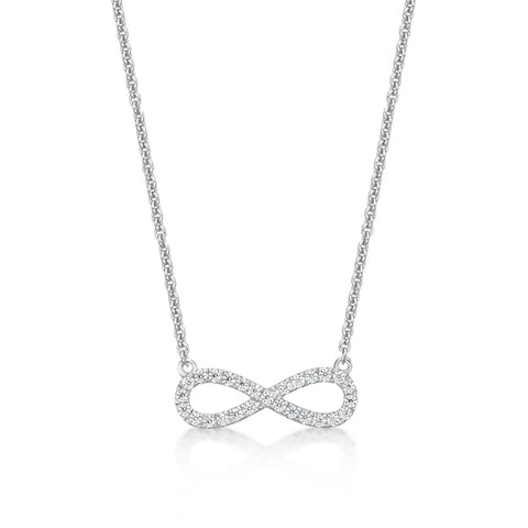 Sterling Silver CZ Infinity Necklace.