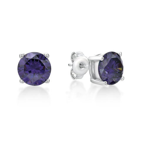 Sterling Silver CZ Stud Earrings- Purple