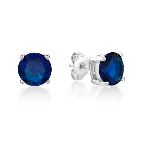 Sterling Silver CZ Stud Earrings - Dark Blue