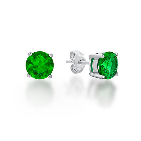 Sterling Silver CZ Stud Earrings - Green