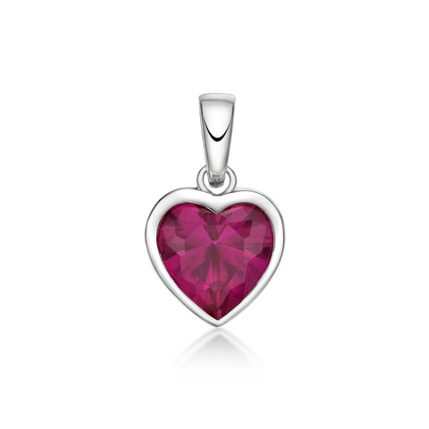 Sterling Silver CZ Heart Shaped Pendant - Red