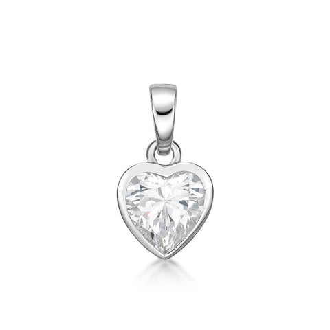 Sterling Silver CZ Heart Shaped Pendant - Clear Stone