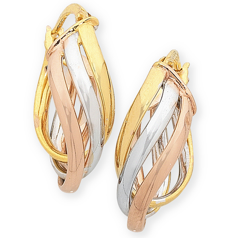 9ct Gold, Silver Filled 3 Tone Oval Hoop Earrings