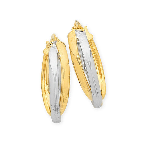 9ct Gold 2 Tone Silver Filled Oval Hoops Earrings