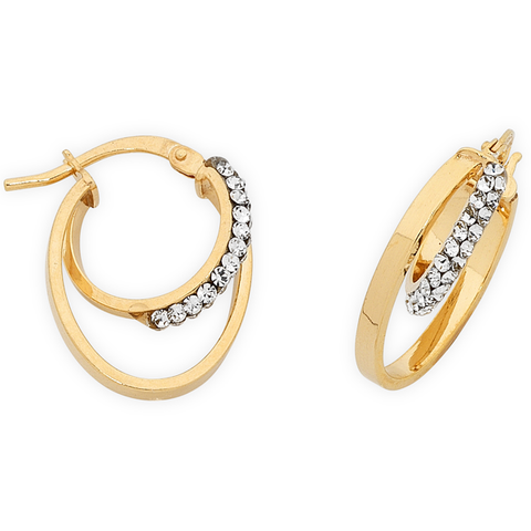 9ct Gold Silver Filled Hoops Earrings With Swarovski Crystal