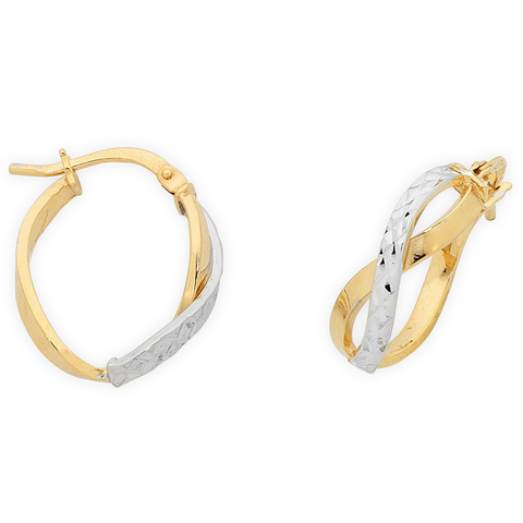 9ct Gold 2 Tone Silver Filled Hoops Earrings