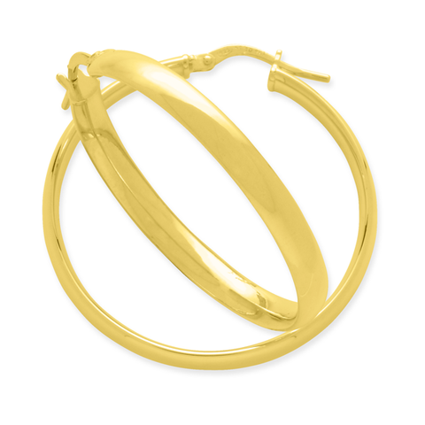 9ct Gold Silver Filled Hoops