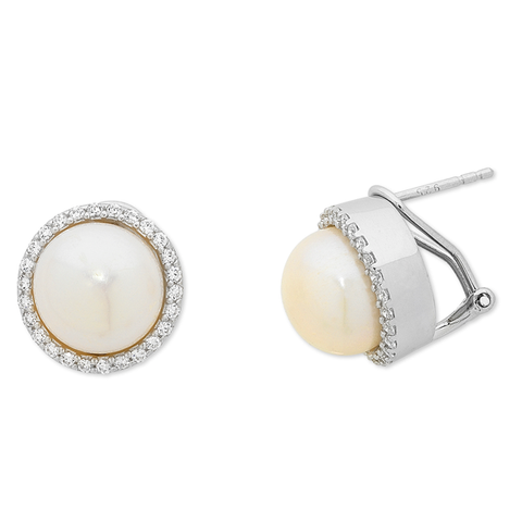 Sterling Silver Freshwater Pearl, CZ Earrings