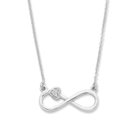 Sterling Silver Diamond set Infinity Necklace