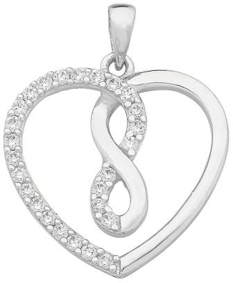 Sterling Silver CZ Infinity Heart Pendant