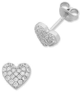 Sterling Silver Heart CZ Earrings