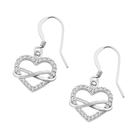 Sterling Silver CZ Heart Infinity Hook Earrings