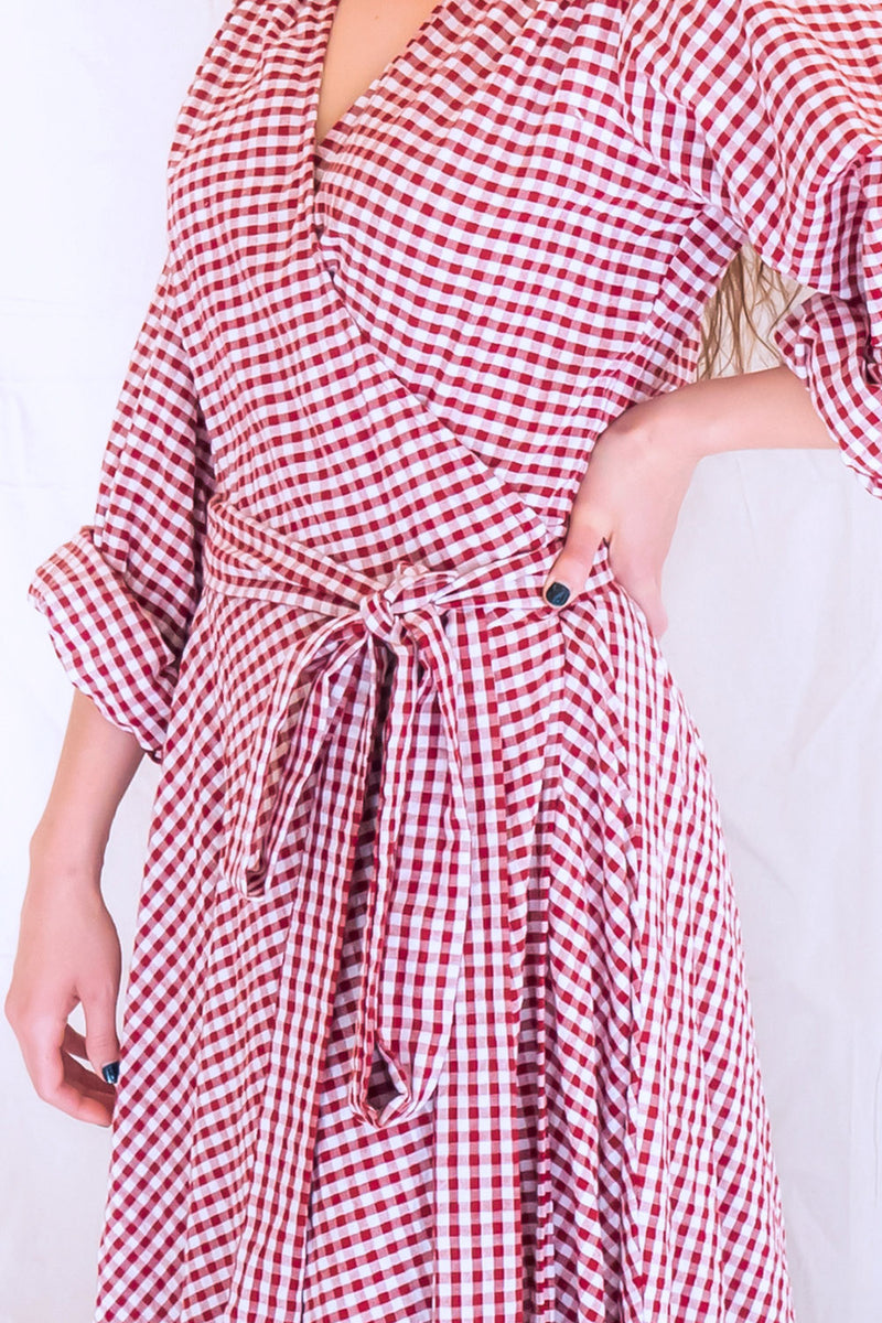Freya Wrap Dress Red/ Burgundy Gingham