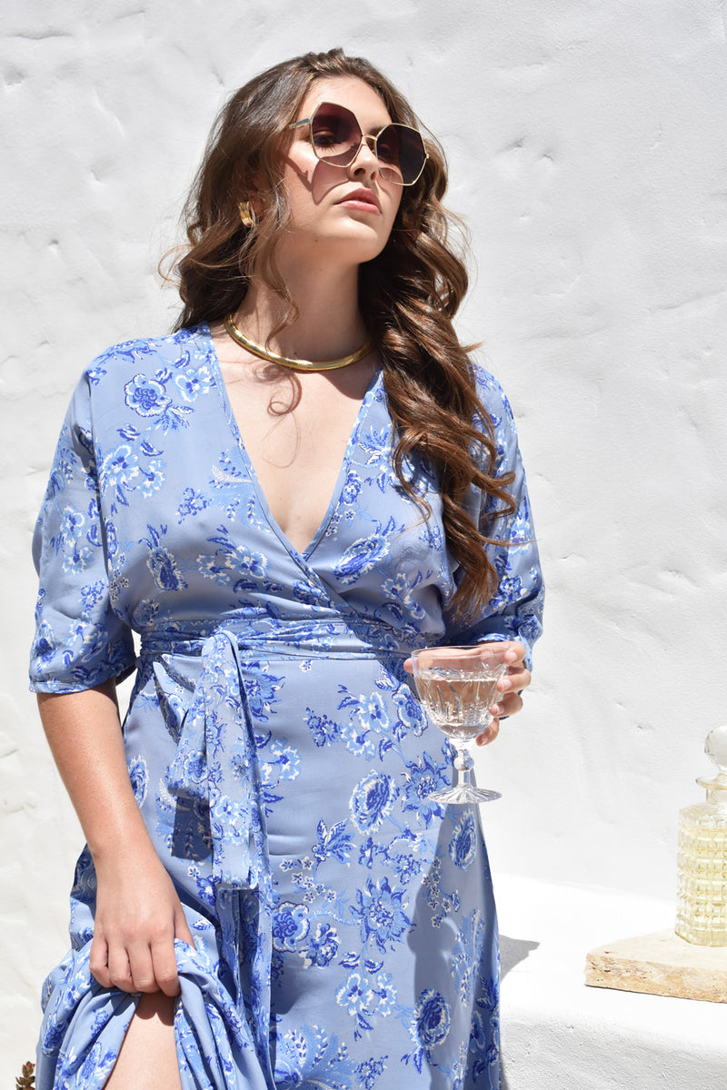 Ava Wrap Dress Dusty Blue
