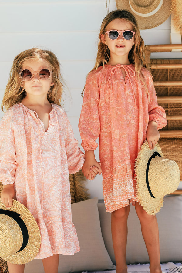 Frankie Girls Dress Peachy Print