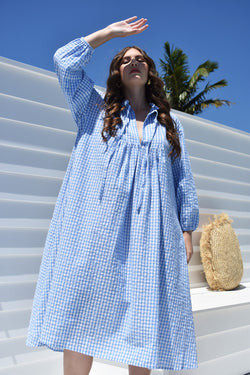 Blue Louisa Dress Vintage Blue Gingham