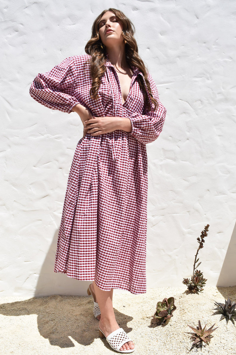 Freya Dress Red Vintage Gingham