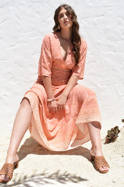 Daisey Wrap Dress Peach