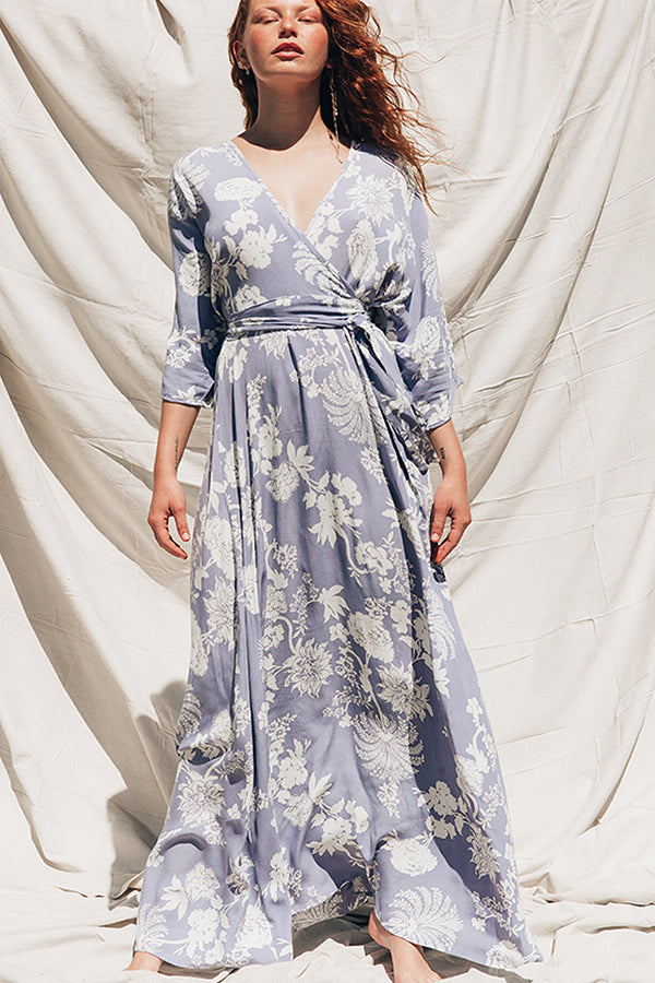 Wrap Dress Cornflour Blue Floral Print