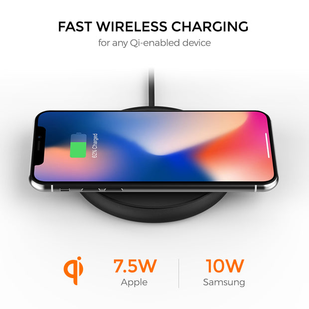 Freedy Single Wireless Charging Pad, Black