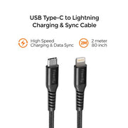 Freedy USB-C to Lightning, Braided Charging Cable