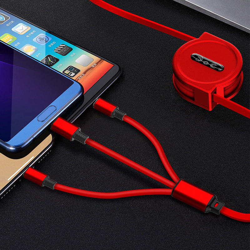 3 In 1 Retractable Portable Charging Cable