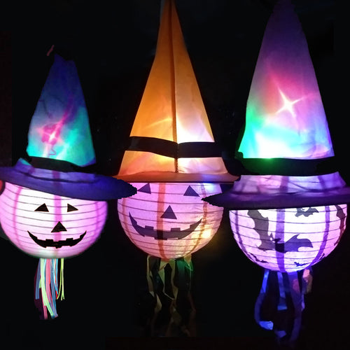 Halloween LED Witch Hat Pumpkin Lantern