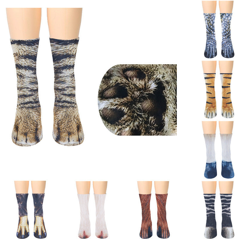 【TODAY 40% OFF】New 3D Print Adult Animal Paw Socks