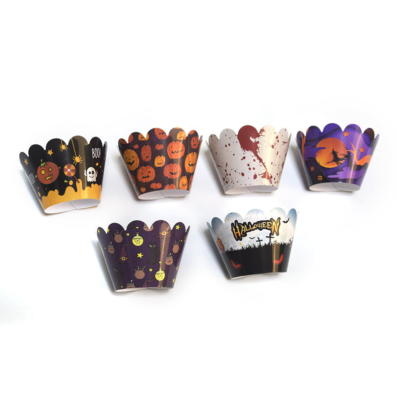 New-design Halloween Cupcake Wrapper with Topper (24 Sets)