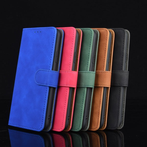 Pure Color Skin Feel Flip Leather Case For iPhone