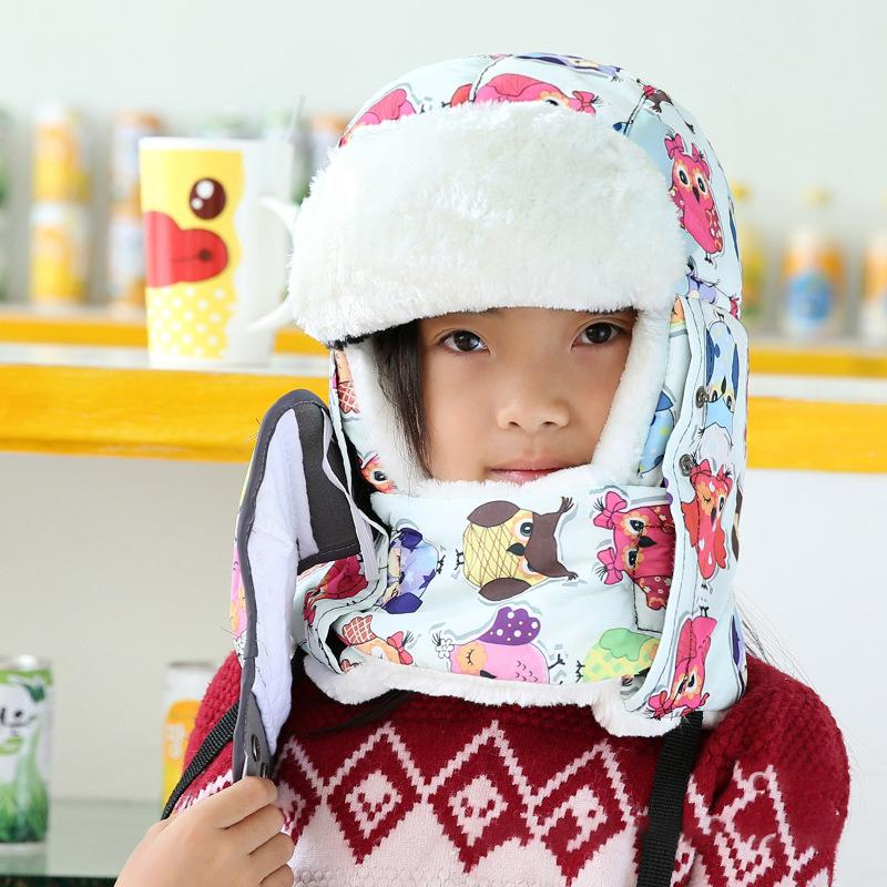 Kids Cold-Proof Thickened Plush Hat with Windproof Facemask and Scarf