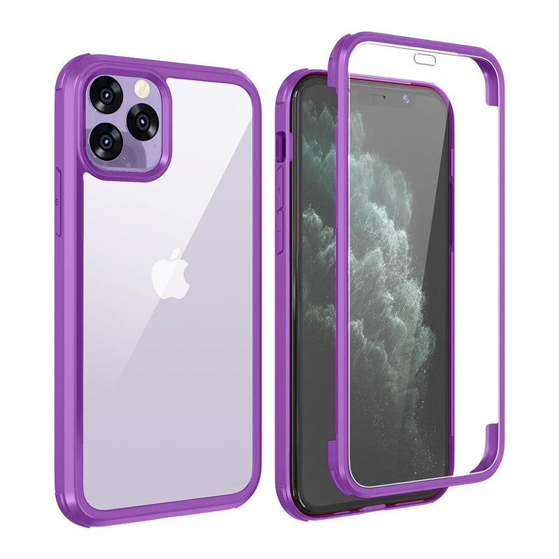 Double Side Tempered Glass Cover Adsorption TPU Frame Case For iPhone