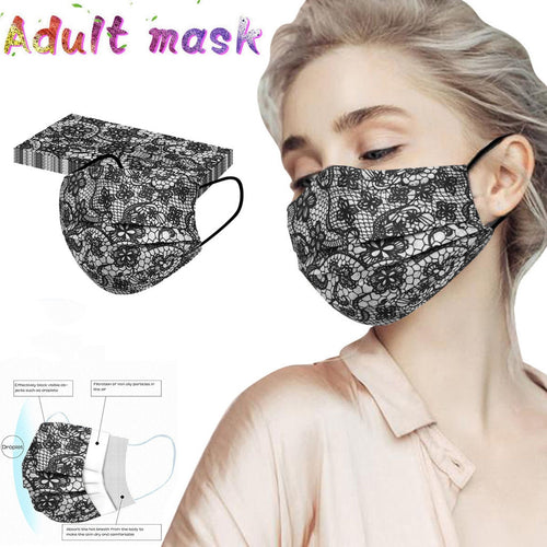 Adult 3-ply Disposable Lace Face Mask