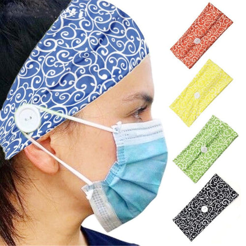 Button Headband Ear Protection for Mask Non-Slip Elastic Hair Bands