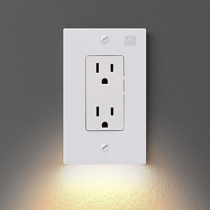 OUTLET WALL PLATE WITH LED NIGHT LIGHTS-NO BATTERIES OR WIRES [UL FCC CSA CERTIFIED] - BestBck