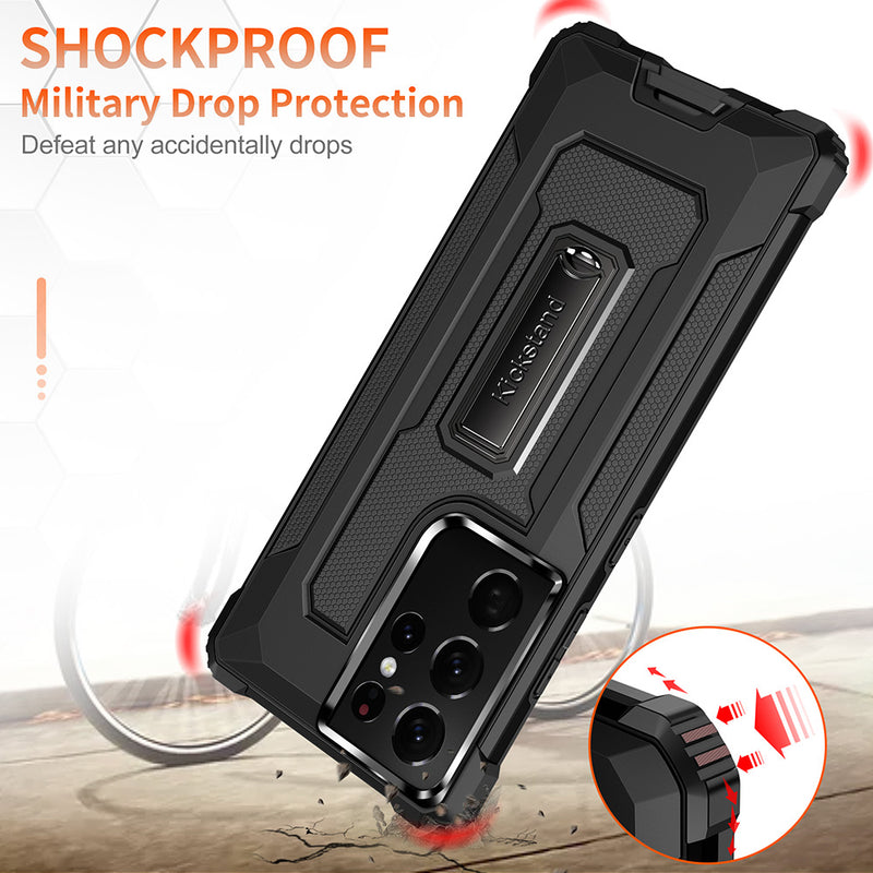 Strong Anti-Fall Metal Kickstand Phone Case For Samsung S21 Ultra